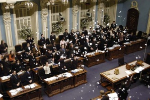 The Blue Room during a youth parliament simulation of writs of election being issued upon the dissolution of the legislature at the National Assembly of Quebec
