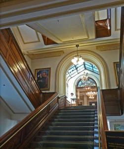 The central staircase leading to the National Assembly and Legislative Council Chambers