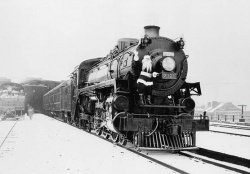 A Clear Sign of Modernity: Santa Clause Arriving in Windsor on the Canadian Pacific Railway's Steam Engine no 2321. © Library and Archives Canada.