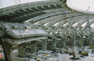 Setting the stands of the Olympic Stadium in place (January 6th, 1976)