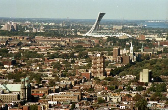Panoramic view of the Montreal Olympic Stadium taken from Mont Royal, 1987