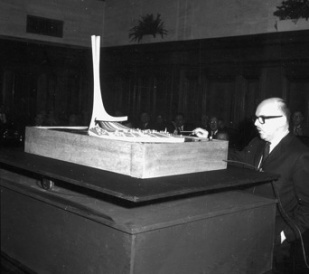 Montreal Mayor Jean Drapeau presents the Montreal-Paris Monument project, December 1964.