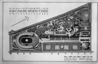 Initial layout plan for the Olympic facilities dating from 1956, Clarke & Rapuano, landscape architects
