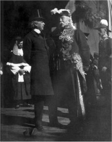 Sir Wilfrid Laurier, Prime Minister, meeting with Sir Henri-Gustave Joly de Lotbinière, Lieutenant-Governor of British Columbia, wearing his Windsor uniform.