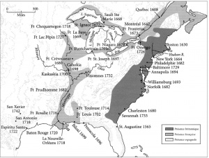 Map showing the extent of French occupation and areas of métissage in North America