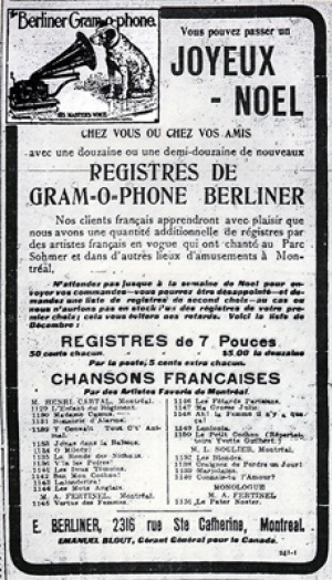 An advertisement for E. Berliner, Montreal, appearing in 1903, © La Patrie, Montréal