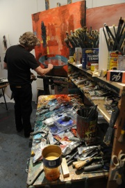 Artist Tom Hopkins at the 2009 artists' workshops event