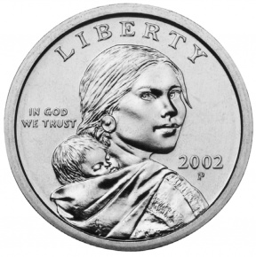 American one dollar coin featuring Sacagawea and her son, Jean-Baptiste Charbonneau