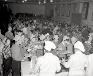 Buffet meal at a snowshoe festival in the Laurentian community of Mont-Laurier, 1959.