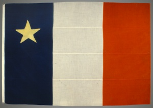 The first Acadian flag unveiled during the Miscouche convention, 1884