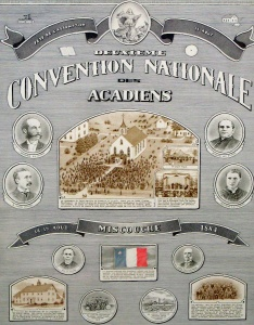 Poster for the second Acadian national convention in Miscouche, 1884