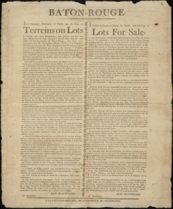 Property sale, 1806, William Waller Survey Collection, LSU Libraries, Baton Rouge