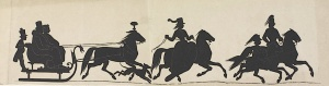Silhouette of a group of people riding in a carriole, 1853.