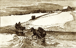 Crossing streams remained a problem for a long time. Winter scene in Canada, the Dangerous Crossing of a Stream in Saint-Tite, late 19th century drawing