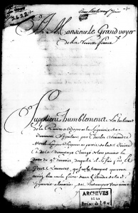 Request presented to the chief road surveyor of New France asking to change the layout of the Chemin du Roy, 1731