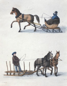 A carriole and a farm sleigh, 1834.