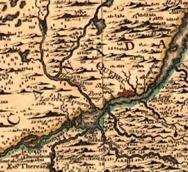 Detail of a 1737 map of New France