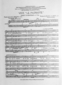 Sheet music for the patriotic song, Vive « Le Patriote » of Father G. Boileau, OMI. and Father A. Erny.