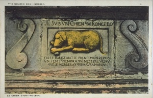 The golden dog, Quebec City (postcard)