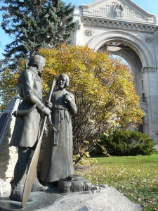 Monument to Father Jean-Pierre Aulneau and his companions, including one of the sons of celebrated explorer La Vérendrye, in the Saint-Boniface Cathedral cemetery