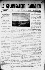 Front page of Le Colonisateur Canadien, year 1, no. 11, October 1886.