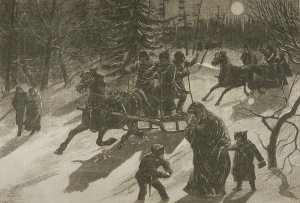 Going home after midnight mass. Manitoba, 1880.