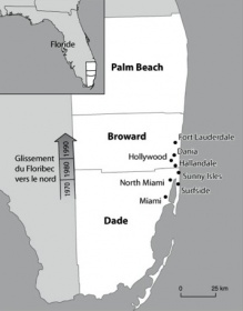 Map showing location of concentrations of Quebec residents in Florida