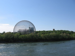 The geodesic dome designed by Buckminster Fuller that served as the United States Pavilion