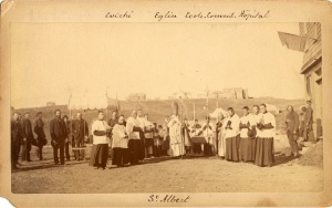 Fête-Dieu procession in St. Albert, Alberta, around 1880