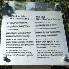A descriptive plaque at the old Trois-Rivières prison