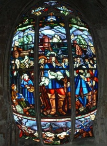 Detail of a stained-glass window at Notre-Dame de Mortagne-au-Perche church: La Rochelle setting out, bound for New France, in 1662.