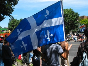 Quebec flag hold by a citizen, 2007