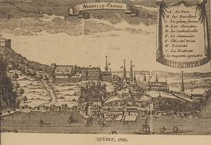 This anonymous engraving dating from 1700 illustrates the importance of the geographic site, with the Royal Battery beside the river and the stockades protecting institutional buildings on the promontory.