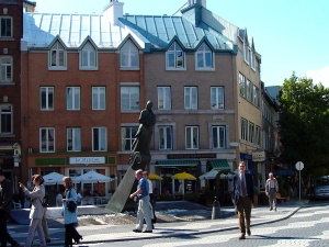 Place de la FAO (named for the United Nations Food and Agriculture Organization).  The combination of fountain, pedestrian street, shopping street, and residential buildings several stories high, is a good example of the principles of development adopted for Old Quebec.