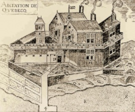 Illustration of Champlain's first settlement in 1608, published in C. H. Laverdière's edition of Champlain's works.