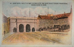 The Porte St-Jean gate, built in 1867 to replace the gate that was constructed under Frontenac and demolished in 1898.