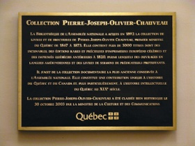 A plaque granting the Chaveau Collection its status as a historic asset in 2003