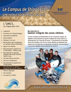 Poster for the Bachelor's in Integrated Coastal Area Management Program at the Université de Moncton Shippagan campus, 2011
