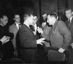 Press briefing given by New Brunswick premier Louis J. Robichaud during the 1st Annual Premiers' Conference in 1960