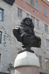 Bust of Louis XIV in the centre of Place-Royale, 2011