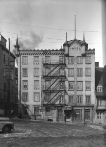 Façade of Hôtel Louis XIV in Place Royale in Quebec City, 1944