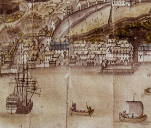 Detail of a map showing Quebec City in 1688. Place-Royale and the bust of Louis XIV are clearly visible in the middle.