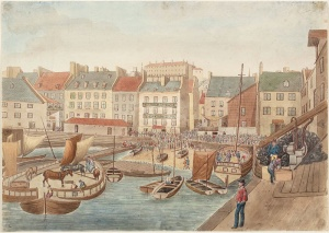 The Lower Marketplace in Quebec City seen from McCallum's Wharf, July 4, 1829