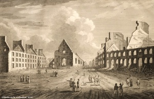 View of Notre-Dame-des-Victoires Church in 1761. The church was demolished during the Seven Years War.
