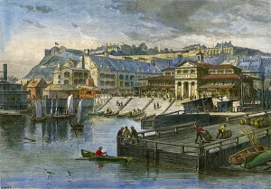 Finlay Market and wharves in Quebec City, circa 1872