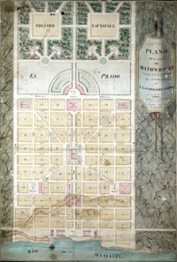 Plan de Baton Rouge, aujourd'hui Beauregard Town. LSU special collections, LSU Libraries, Bâton-Rouge
