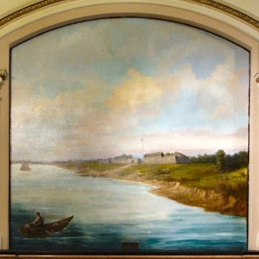 """Fort Chartres on the Mississippi River Near Prairie du Rocher"": panel adorning the north hall of the Illinois State Capitol."