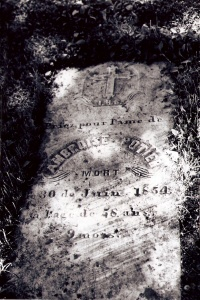 First gravestone in Sainte-Anne-du-Ruisseau, 1854. Photo D. Trask © S. Ross