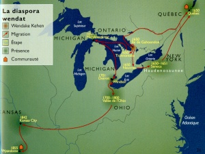 Map of the Wendat diaspora dispersed in 1649, following the destruction of Huronia