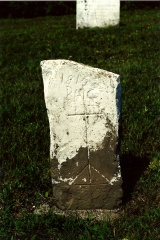 Gravestone for Basile Chiasson who died in 1819. Photo D. Trask © S. Ross